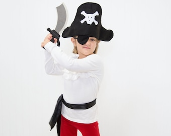 Kids Pirate Costume - Handmade, Halloween, Felt, Pirate Hat, Childs, Boys, Dress Up, Pretend Play