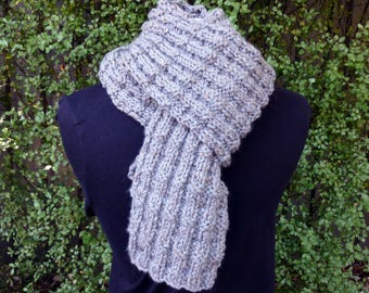 Chunky knit scarf. Mens knit scarf. Ladies knit scarf. Wool hand knit scarf. Grey knit scarf. Gray chunky knit scarf. Winter scarf.