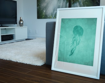 Jellyfish Art, Jellyfish Print 8 X 10, Bathroom Decor, Nautical Decor, Nautical Print, Artwork, Illustration Gift, Wall Art, Under the Sea