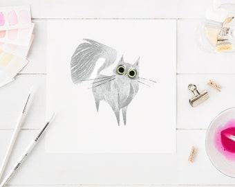 Kitty print, funny kitty, funny cat, fluffy kitten, gift for cat owner, gift for cat mom, kawaii kitty, kawaii cat, kitten artwork, cartoon