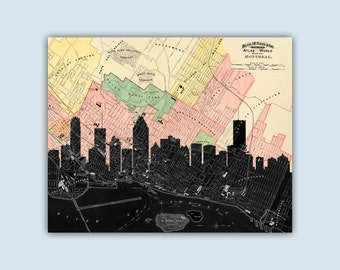 Montreal  Skyline, Montreal Print, Personalized Skyline Print, Wedding Gift, Montreal Decor, Montreal Map, Montreal Canada, Montreal Poster