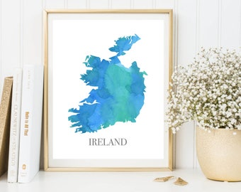 Ireland Print, Ireland Map, Watercolor Map, Map Painting, Map Artwork, Country Art, Office Decorations, Country Map Art Print Zone