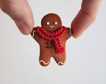 Gingerbread Man brooch Christmas gift pin Christmas brooch Accessories Gingerbread Cute kawaii pin Christmas Cookie brooch Ginger with scarf