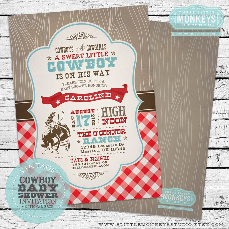 Personalized Vintage Cowboy Baby Shower Invitation PLUS