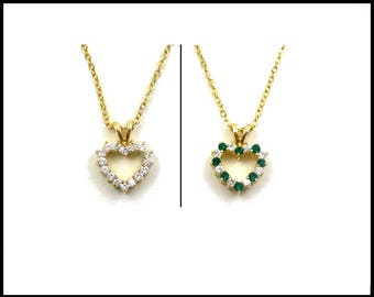 Reversible Green & Clear CZ Heart Necklace, Double Sided Heart, Gold Chain, Emerald Green Heart, May Birthstone, Gift for Teen, Gift For Her