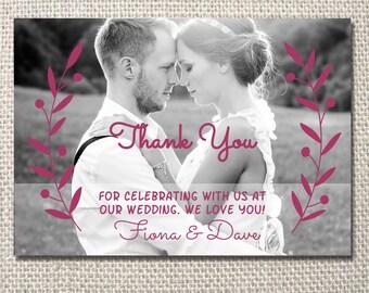 Purple wreath wedding thank you printable card - with photo
