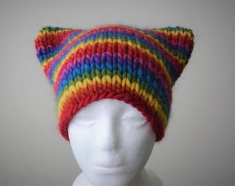 Rainbow Knit Cat Hat  / Winter Gift for Him and Her