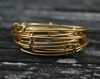 Adjustable Antiqued Brass Gold Wire Wrapped Bangles, 1pc
