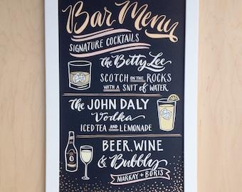 12x18 Signature Drink Sign Chalkboard Bar Menu Wedding Sign Hand Painted White Gold Blush Custom Bar Sign Illustration Papertangent