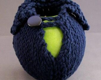 Cozy Apple Jacket  Sweater - Handknit - Navy Blue Cotton with Coordinating Navy Blue Button Unique Teacher Gift under 20