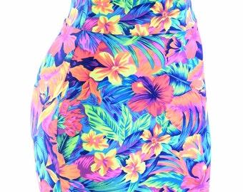 "Tahitian Floral Neon UV Glow Stretchy Spandex Bodycon Skirt 16"" Length 153964"