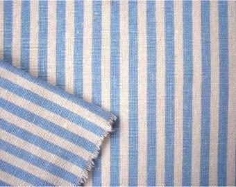 2347 - Japanese Blue Stripes Cotton Linen Blend Fabric - 57 Inch (Width) x 1/2 Yard (Length)