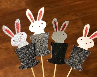 12 glittered magic hat & rabbit theme cupcake toppers