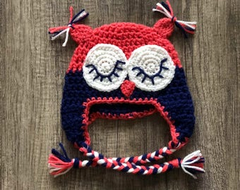 Pink navy crocheted owl hat for child