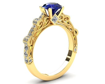 Sapphire Engagement Ring 1.50 Carat Blue Sapphire And Diamond Ring In 14k or 18k Yellow Gold Style Number CF1BUY