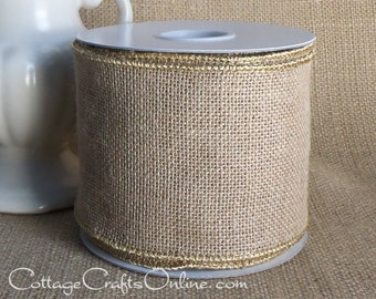 "Burlap Wired Ribbon, 4"" wide, Natural Tan 100% Jute - TEN YARD ROLL - Offray, Rustic Burlap Ribbon, Wired Edge Ribbon"