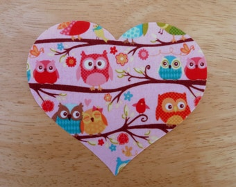 Heart #1 Iron on Fabric Applique - 11.3cm x 9.7cm large fabric iron on heart,  made to order, choose your fabric, ships from UK