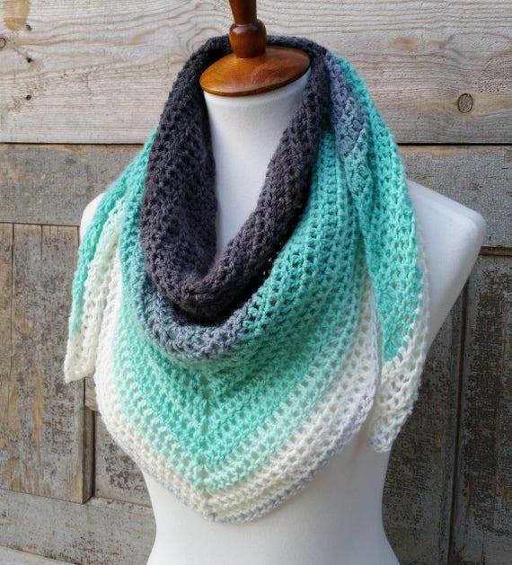 Mandala Triangle Scarf Crochet Pattern One Skein Crochet Pattern