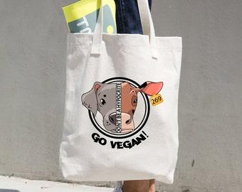 GO VEGAN/ Cotton Tote Bag