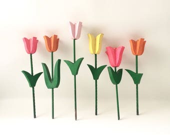 Vintage Wooden Tulips / Set of Six