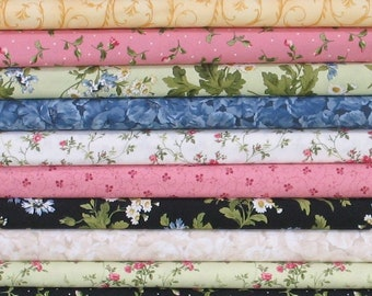 Eleven Fabric Bundle of Poppies Collection by Rachel Shelburne, Maywood Studio, 100% Cotton Quilt Fabric Bundle for Sale
