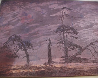 A nice old copper engraving etching printing plate eerie moon lite tree landscape