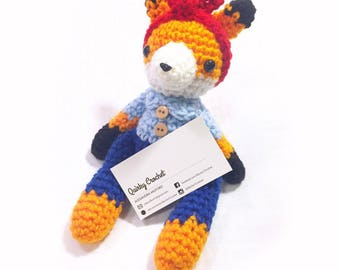 Rosie the Riveter Inspired Fox   - Crochet Doll - Nursery Decor - Baby gift -  Finished Amigurumi Doll - Baby Shower Gift - MADE TO ORDER