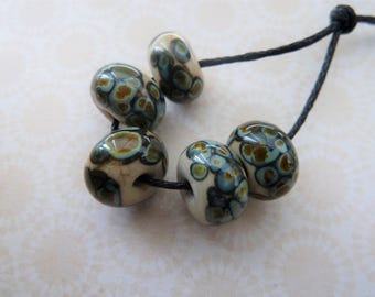 lampwork glass beads, ivory raku frit set, UK handmade