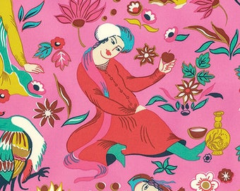 Cotton Amy Butler Sateen Cotton Midday Social  in Rose from the Eternal Sunshine Collection 1/2 Yard