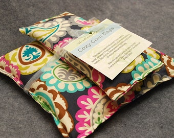 Spa Gift Set, Corn Heating Pad, Corn Bag, Relaxation Gift, Gift For Her, Microwave Heat Pack, Cold Pack -- Paisley Party Gift Set - LAST ONE