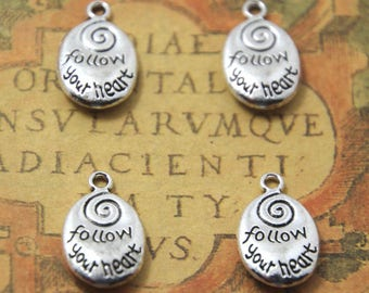 10pcs Follow Your Heart Charms silver tone 2 sided Follow Your Heart Charms pendants  20x12mm ASD1053