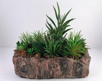 Cedar Bark Sculpted Artificial Succulent Planter / Succulent Planter / Succulent Arrangement
