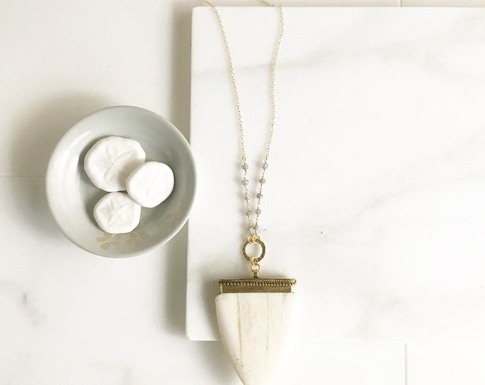 Arrowhead Pendant Necklace. Long Shield Pendant Necklace. Ivory Shield and Grey Beaded Chain. Boho Pendant Necklace. Bohemian Necklace. Gift