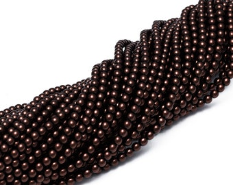 4mm Czech Glass Pearl - 70408 Bronze x 120pcs