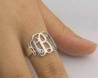 Initial Monogram Ring Personalized Monogram Ring Three Initial Ring Custommed Initial Ring Bridesmaids Gift Sterling Silver Ring - US4-US13