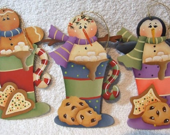 Sweet Cookies and Cocoa Christmas Friends Ornaments Hand Painted