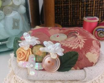 Pincushion-Country Red Pincushion-Sewing notions-Handmade Pincushion,Home Decor