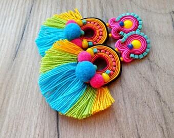 Colorful Tassel Earrings, Clip On Earrings Statement, Long Soutache Earrings, Tassel Earrings, Pompom Earrings, Clip on Earrings, Soutache