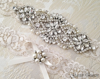 Wedding Garter Set, Ivory Lace Garter Set,  Bridal arter Set, Rhinestone Garter, Lace Wedding Garter, Crystal Garter