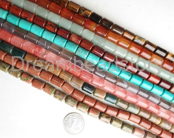 Natural Semi Precious Stone Smooth Tube Cylinder 10*14mm Connector Spacer Beads Supplies (JDY90)