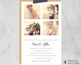 Printable Wedding Invitation with Photo Options — Classic, Traditional, Simple