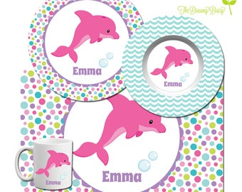 Personalized Plate for Kids - Dolphin Plate, Bowl, Mug & Placemat - Dolphin Dinnerware - Custom Kids' Tableware - Microwave Safe - BPA Free