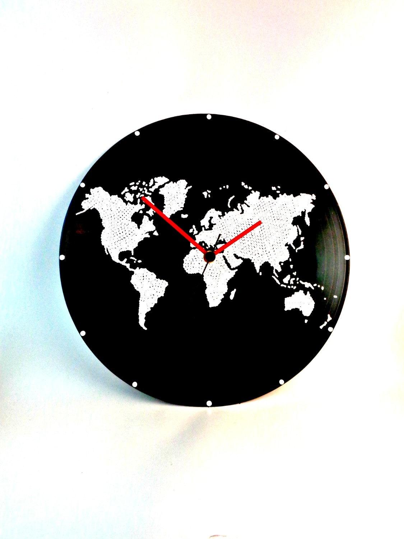 World map wall clock world map clock vinyl clock globe ampliar gumiabroncs Choice Image
