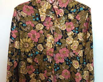 Vintage Late 60's Floral Button-Up