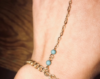 Gold and tourquoise hand chain