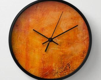 Abstract wall clock, decorative art clock textured effect art orange rust tone clock autumn wall decor abstract art clock