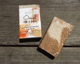 Oatmeal Milk & Honey Soap, Natural soap, Organic, Exfoliating soap, Milk soap, Sensitive skin, Handmade soap, Gift