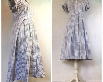 50s  Blue gingham dress, House dress, Blue plaid dress, Gingham dress, Blue midi dress, Cotton dress