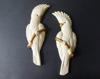 Mid-century chalkware parrots wall decor 1950s bird decor