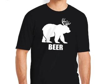 Beer T-Shirt, Beer Shirt, Beer Tee, Bear T-Shirt, Bear Shirt, Deer T-Shirt, Deer Shirt, Beer Gift, Funny T-Shirt, Funny Shirt, Funny Gift